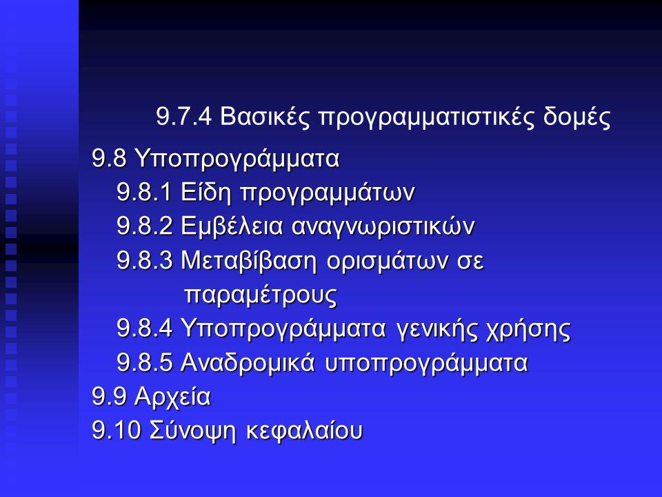 9.7.4 Βασικές προγραμματιστικές δομές 9.8 Υποπρογράμματα 9.8.1 Είδη προγραμμάτων 9.8.2 Εμβέλεια αναγνωριστικών 9.8.3 Μεταβίβαση ορισμάτων σε παραμέτρους παραμέτρους 9.8.4 Υποπρογράμματα γενικής χρήσης 9.8.5 Αναδρομικά υποπρογράμματα 9.9 Αρχεία 9.10 Σύνοψη κεφαλαίου