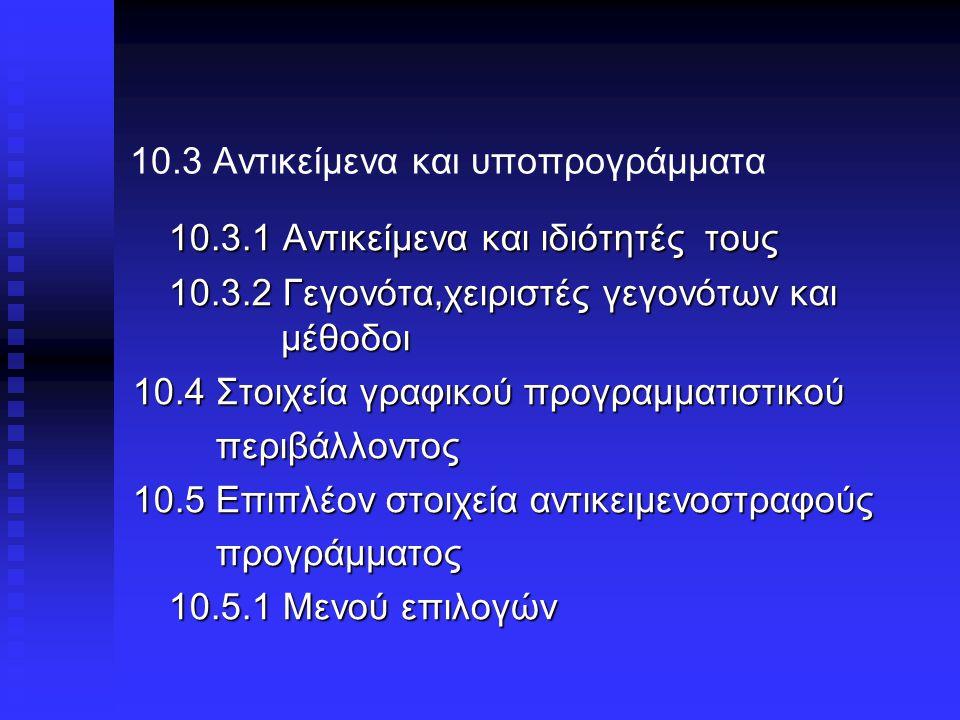 10.3 Αντικείμενα και υποπρογράμματα 10.3.1 Αντικείμενα και ιδιότητές τους 10.3.2 Γεγονότα,χειριστές γεγονότων και μέθοδοι 10.4 Στοιχεία γραφικού προγραμματιστικού περιβάλλοντος περιβάλλοντος 10.5 Επιπλέον στοιχεία αντικειμενοστραφούς προγράμματος προγράμματος 10.5.1 Μενού επιλογών