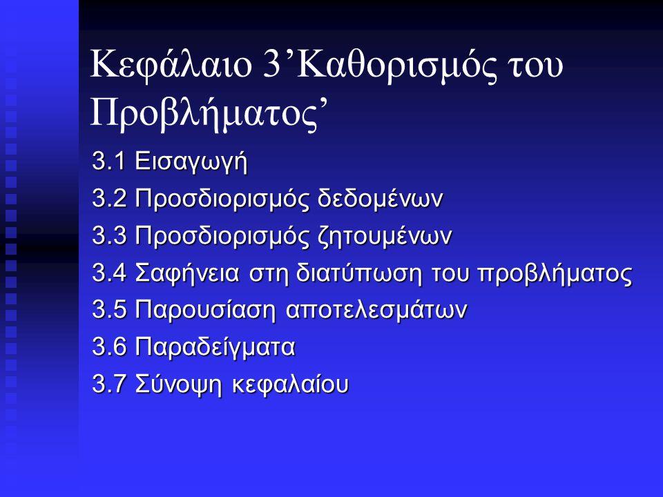 Κεφάλαιο 7(συνέχεια) 7.3.3 Παραδείγματα 7.3.4 Προβλήματα δύσκολου χειρισμού και ευρετικοί αλγόριθμοι 7.4 Σύνοψη κεφαλαίου.