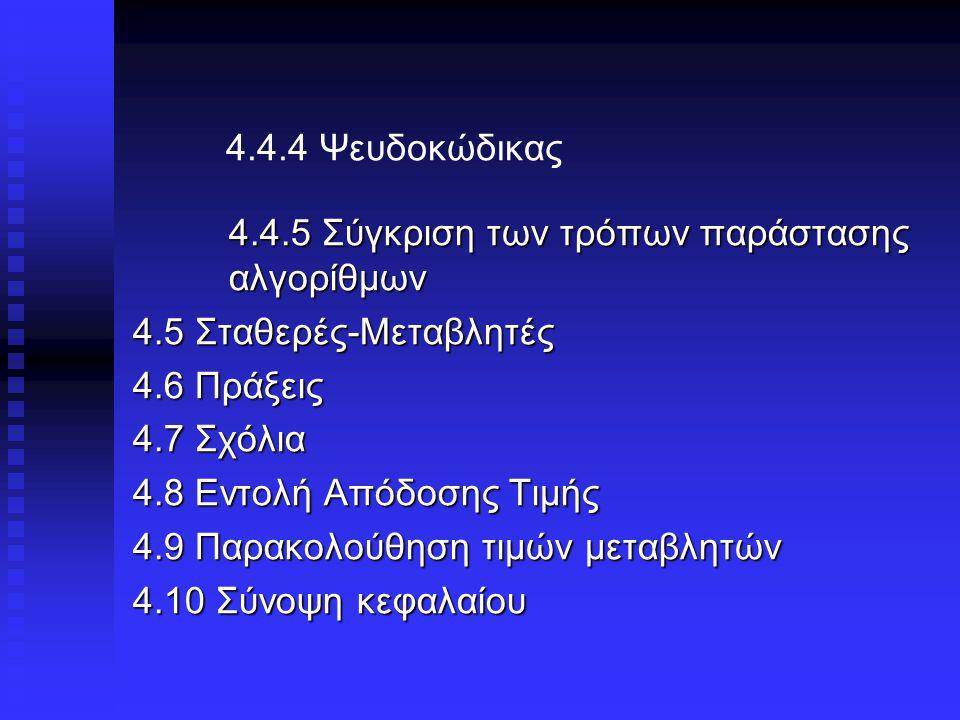 4.4.4 Ψευδοκώδικας 4.4.5 Σύγκριση των τρόπων παράστασης αλγορίθμων 4.5 Σταθερές-Μεταβλητές 4.6 Πράξεις 4.7 Σχόλια 4.8 Εντολή Απόδοσης Τιμής 4.9 Παρακολούθηση τιμών μεταβλητών 4.10 Σύνοψη κεφαλαίου