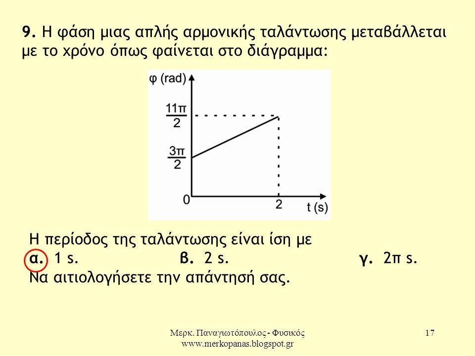 Μερκ. Παναγιωτόπουλος - Φυσικός www.merkopanas.blogspot.gr 17 9. Η φάση μιας απλής αρμονικής ταλάντωσης μεταβάλλεται με το χρόνο όπως φαίνεται στο διά
