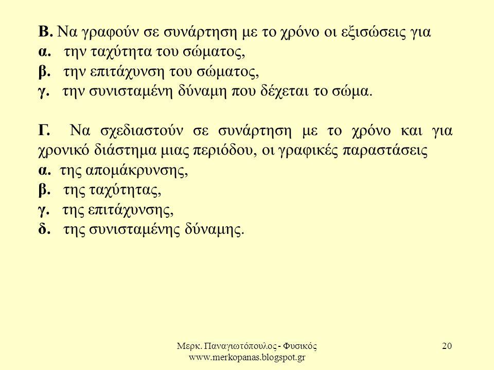 Μερκ. Παναγιωτόπουλος - Φυσικός www.merkopanas.blogspot.gr 20 Β. Να γραφούν σε συνάρτηση με το χρόνο οι εξισώσεις για α. την ταχύτητα του σώματος, β.