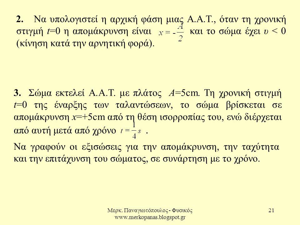 Μερκ. Παναγιωτόπουλος - Φυσικός www.merkopanas.blogspot.gr 21 2. Να υπολογιστεί η αρχική φάση μιας Α.Α.Τ., όταν τη χρονική στιγμή t=0 η απομάκρυνση εί