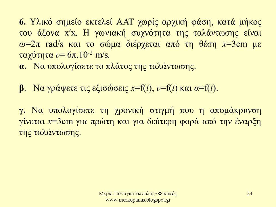 Μερκ. Παναγιωτόπουλος - Φυσικός www.merkopanas.blogspot.gr 24 6. Υλικό σημείο εκτελεί ΑΑΤ χωρίς αρχική φάση, κατά μήκος του άξονα x′x. Η γωνιακή συχνό