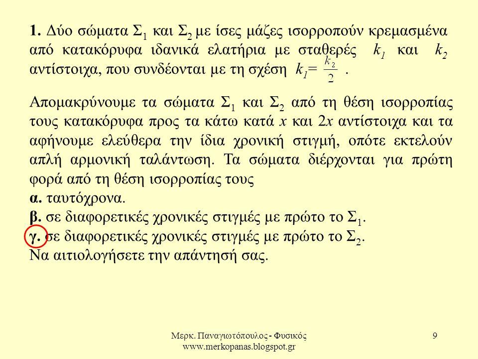 Μερκ. Παναγιωτόπουλος - Φυσικός www.merkopanas.blogspot.gr 9 1. Δύο σώματα Σ 1 και Σ 2 µε ίσες μάζες ισορροπούν κρεμασμένα από κατακόρυφα ιδανικά ελατ