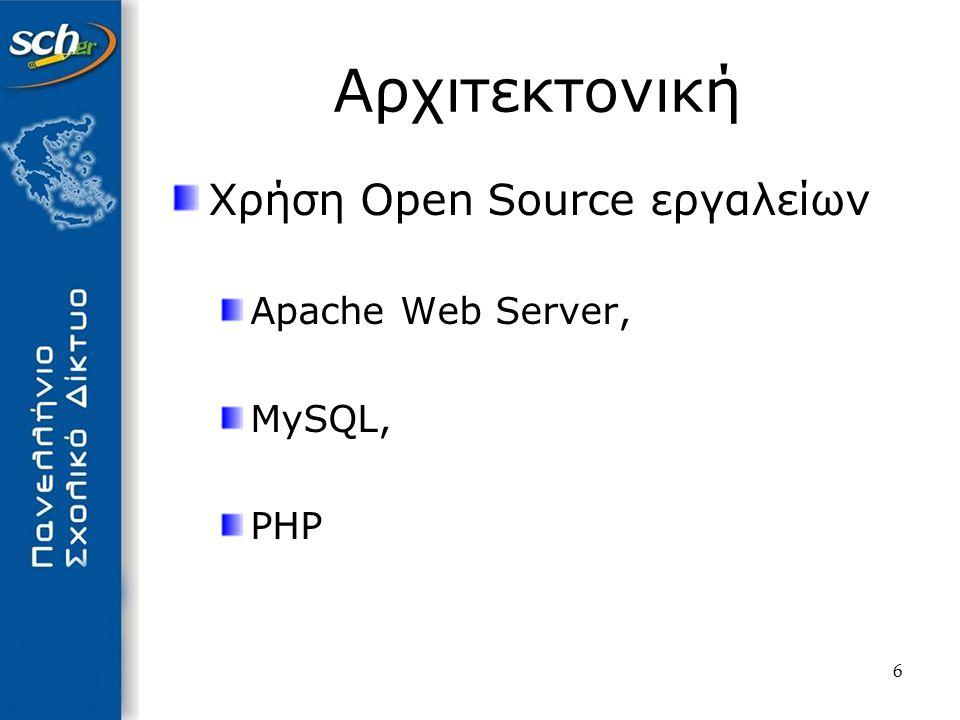 6 Αρχιτεκτονική Χρήση Open Source εργαλείων Apache Web Server, MySQL, PHP