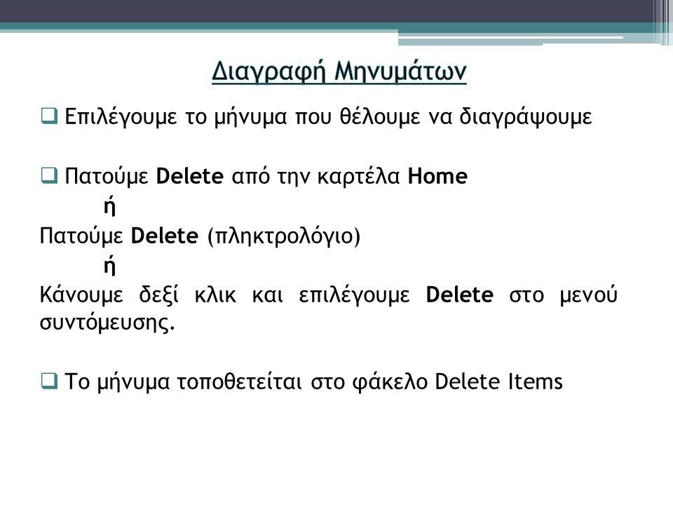  Επιλέγουμε το μήνυμα που θέλουμε να διαγράψουμε  Πατούμε Delete από την καρτέλα Home ή Πατούμε Delete (πληκτρολόγιο) ή Κάνουμε δεξί κλικ και επιλέγ