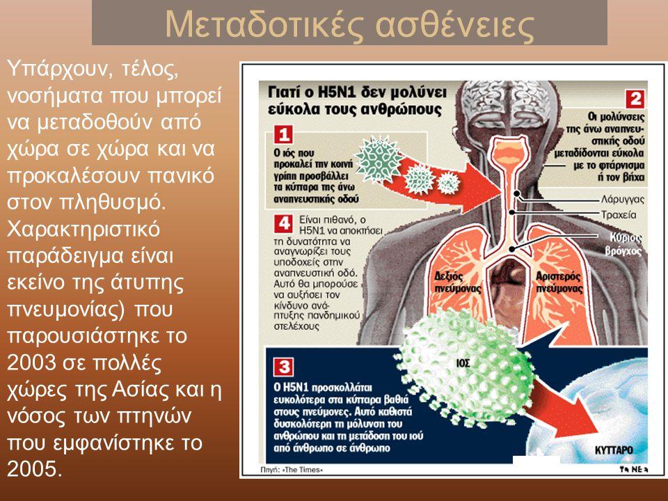 Μεταδοτικές ασθένειες Υπάρχουν, τέλος, νοσήματα που μπορεί να μεταδοθούν από χώρα σε χώρα και να προκαλέσουν πανικό στον πληθυσμό.