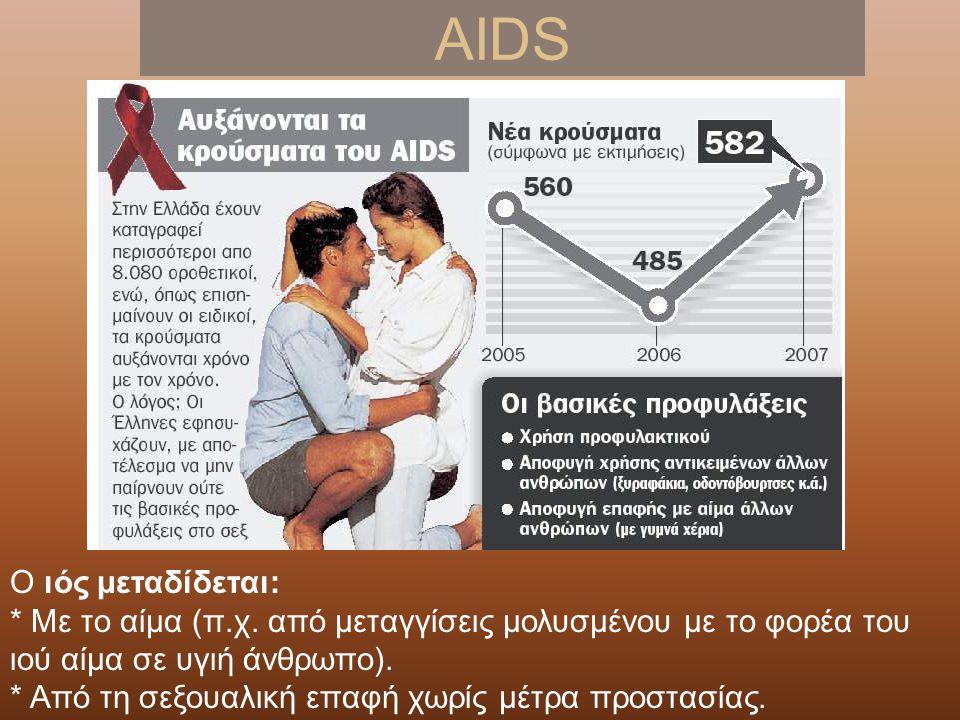 AIDS Ο ιός μεταδίδεται: * Με το αίμα (π.χ.