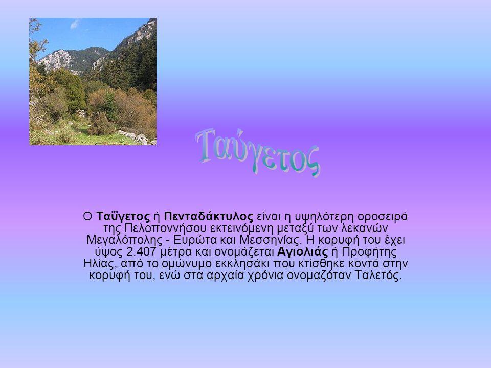 Ο Ταΰγετος ή Πενταδάκτυλος είναι η υψηλότερη οροσειρά της Πελοποννήσου εκτεινόμενη μεταξύ των λεκανών Μεγαλόπολης - Ευρώτα και Μεσσηνίας. Η κορυφή του