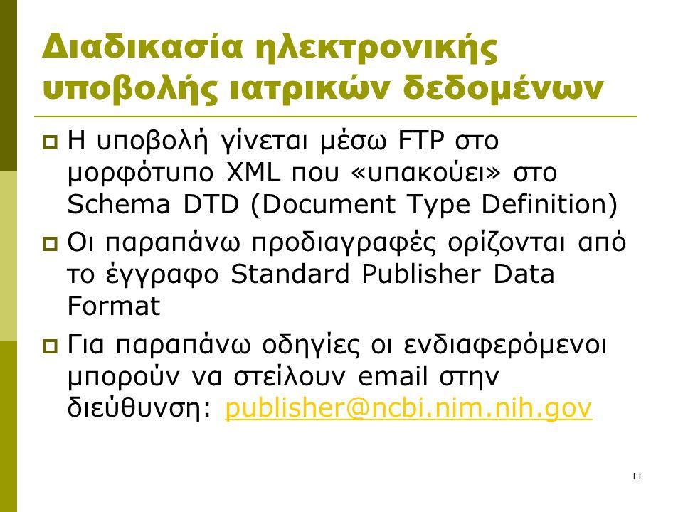 11 Διαδικασία ηλεκτρονικής υποβολής ιατρικών δεδομένων  Η υποβολή γίνεται μέσω FTP στο μορφότυπο XML που «υπακούει» στο Schema DTD (Document Type Definition)  Οι παραπάνω προδιαγραφές ορίζονται από το έγγραφο Standard Publisher Data Format  Για παραπάνω οδηγίες οι ενδιαφερόμενοι μπορούν να στείλουν email στην διεύθυνση: publisher@ncbi.nim.nih.govpublisher@ncbi.nim.nih.gov