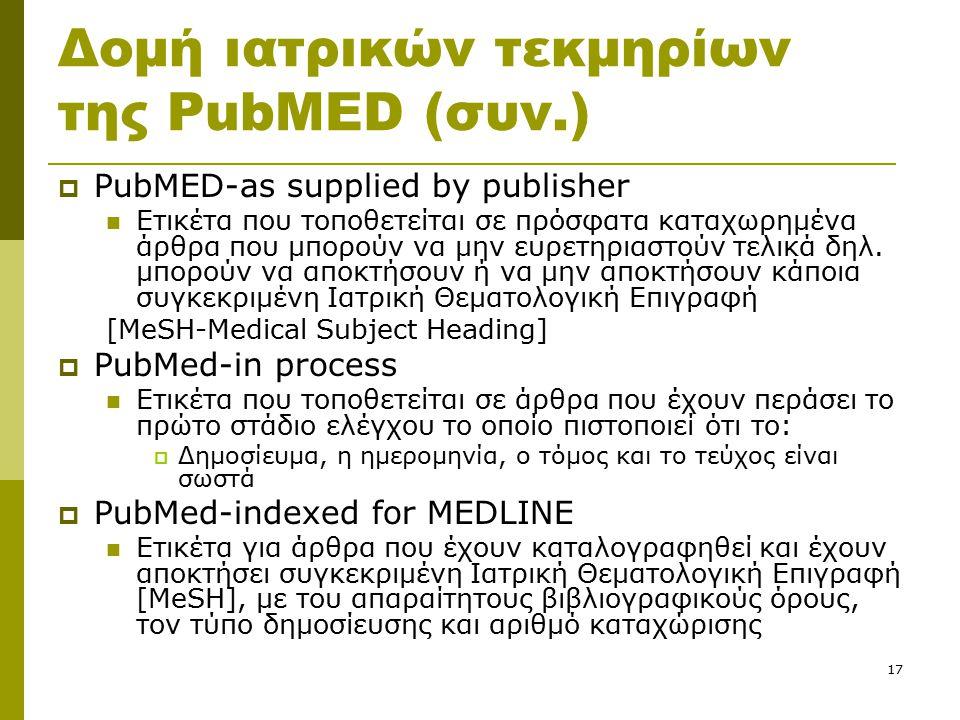 17 Δομή ιατρικών τεκμηρίων της PubMED (συν.)  PubMED-as supplied by publisher Ετικέτα που τοποθετείται σε πρόσφατα καταχωρημένα άρθρα που μπορούν να μην ευρετηριαστούν τελικά δηλ.