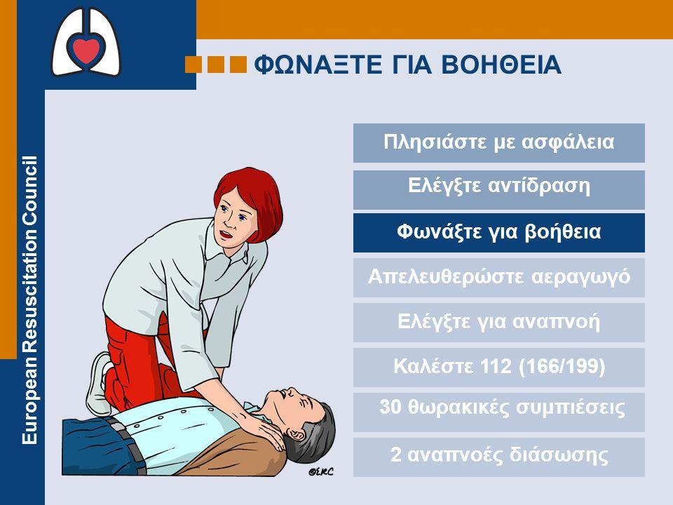 European Resuscitation Council ΦΩΝΑΞΤΕ ΓΙΑ ΒΟΗΘΕΙΑ Πλησιάστε με ασφάλεια Ελέγξτε αντίδραση Φωνάξτε για βοήθεια Απελευθερώστε αεραγωγό Ελέγξτε για αναπνοή Καλέστε 112 (166/199) 30 θωρακικές συμπιέσεις 2 αναπνοές διάσωσης