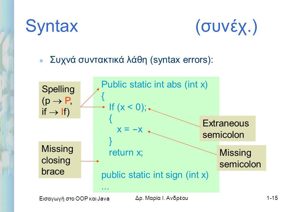 Εισαγωγή στο ΟΟΡ και Java Δρ. Μαρία Ι. Ανδρέου1-15 Syntax (συνέχ.) l Συχνά συντακτικά λάθη (syntax errors): Missing closing brace Public static int ab
