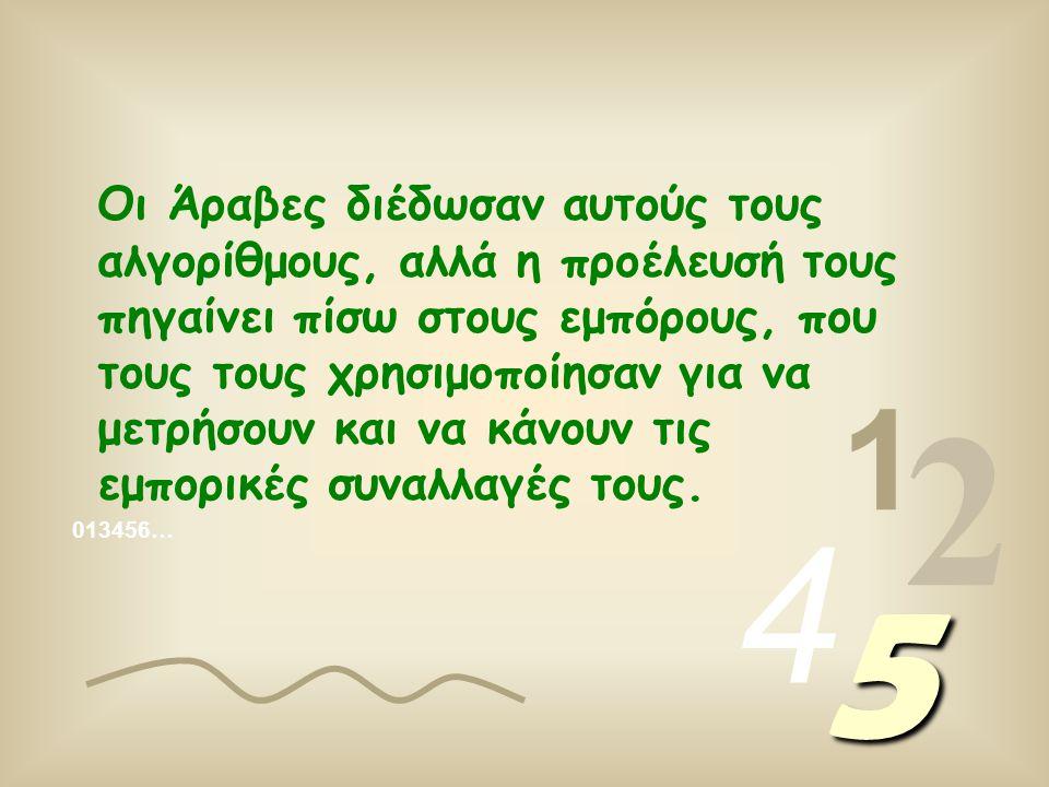 Οι αριθμοί που γράφουμε δημιουργήθηκαν με αλγόριθμους, (1, 2, 3, 4, κλπ) που ονομάζονται αραβικοί αλγόριθμοι, για να ξεχωρίζουν από τους ρωμαϊκούς αλγόριθμους (I, II, III, IV, κλπ.).