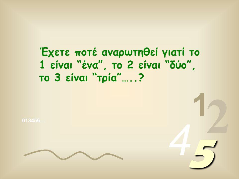 013456… 1 2 4 5 Έχετε ποτέ αναρωτηθεί γιατί το 1 είναι ένα , το 2 είναι δύο , το 3 είναι τρία …..?
