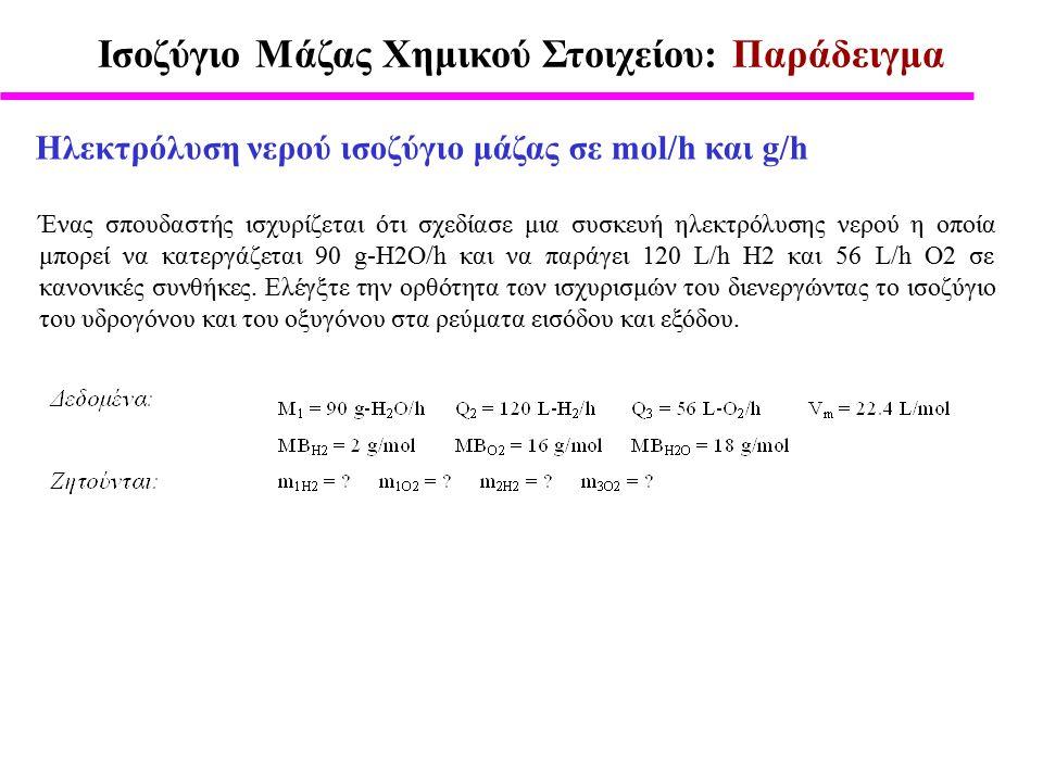 Ισοζύγιο Μάζας Χημικού Στοιχείου: Παράδειγμα Ηλεκτρόλυση νερού ισοζύγιο μάζας σε mol/h και g/h Ένας σπουδαστής ισχυρίζεται ότι σχεδίασε μια συσκευή ηλεκτρόλυσης νερού η οποία μπορεί να κατεργάζεται 90 g-H2O/h και να παράγει 120 L/h H2 και 56 L/h O2 σε κανονικές συνθήκες.