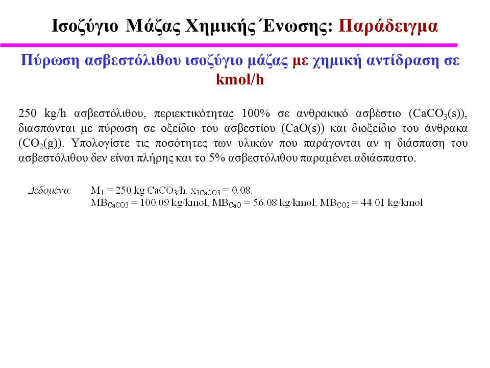 Ισοζύγιο Μάζας Χημικής Ένωσης: Παράδειγμα Πύρωση ασβεστόλιθου ισοζύγιο μάζας με χημική αντίδραση σε kmol/h 250 kg/h ασβεστόλιθου, περιεκτικότητας 100% σε ανθρακικό ασβέστιο (CaCO 3 (s)), διασπώνται με πύρωση σε οξείδιο του ασβεστίου (CaO(s)) και διοξείδιο του άνθρακα (CO 2 (g)).