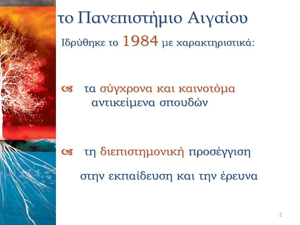 το Πανεπιστήμιο Αιγαίου Ιδρύθηκε το 1984 με χαρακτηριστικά:  τα σύγχρονα και καινοτόμα αντικείμενα σπουδών  τη διεπιστημονική προσέγγιση στην εκπαίδ