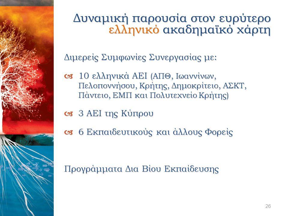 Διμερείς Συμφωνίες Συνεργασίας με:  10 ελληνικά ΑΕΙ (ΑΠΘ, Ιωαννίνων, Πελοποννήσου, Κρήτης, Δημοκρίτειο, ΑΣΚΤ, Πάντειο, ΕΜΠ και Πολυτεχνείο Κρήτης) 