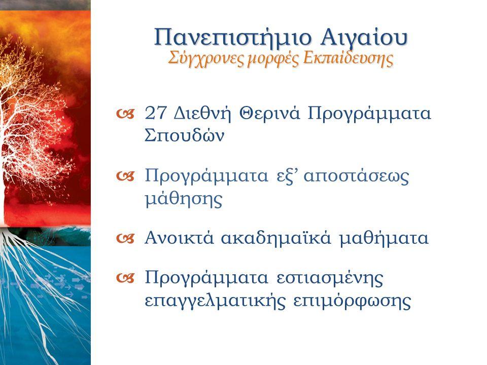 Πανεπιστήμιο Αιγαίου Σύγχρονες μορφές Εκπαίδευσης  27 Διεθνή Θερινά Προγράμματα Σπουδών  Προγράμματα εξ' αποστάσεως μάθησης  Ανοικτά ακαδημαϊκά μαθ