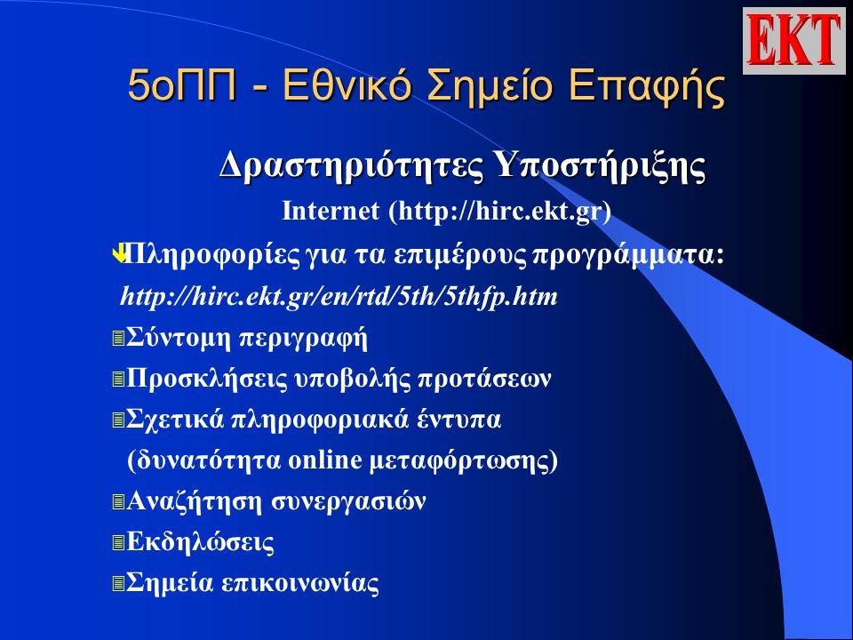 5οΠΠ - Εθνικό Σημείο Επαφής Δραστηριότητες Υποστήριξης Ιnternet (http://hirc.ekt.gr) ê Πληροφορίες για τα επιμέρους προγράμματα: http://hirc.ekt.gr/en