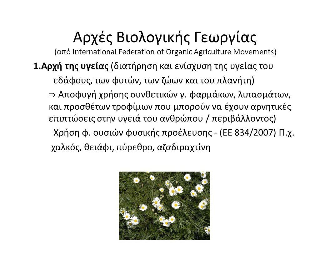 Αρχές Βιολογικής Γεωργίας (από International Federation of Organic Agriculture Movements) 1.Αρχή της υγείας (διατήρηση και ενίσχυση της υγείας του εδά