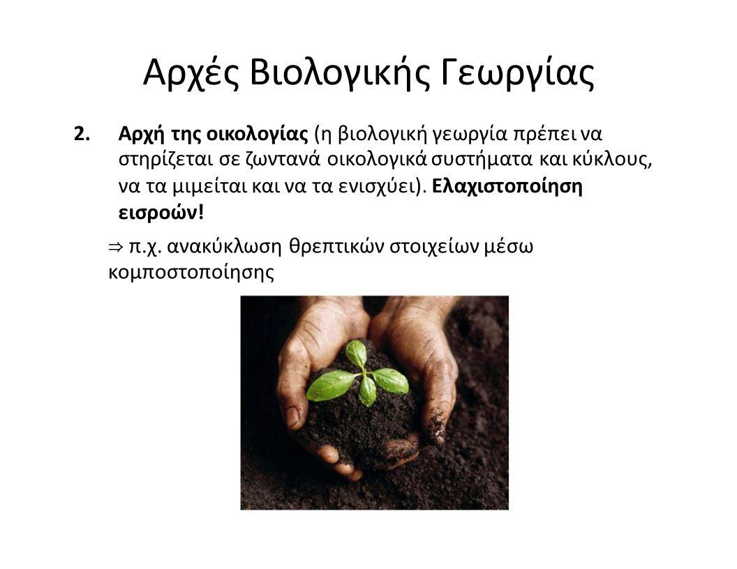 Αρχές Βιολογικής Γεωργίας 2.Αρχή της οικολογίας (η βιολογική γεωργία πρέπει να στηρίζεται σε ζωντανά οικολογικά συστήματα και κύκλους, να τα μιμείται