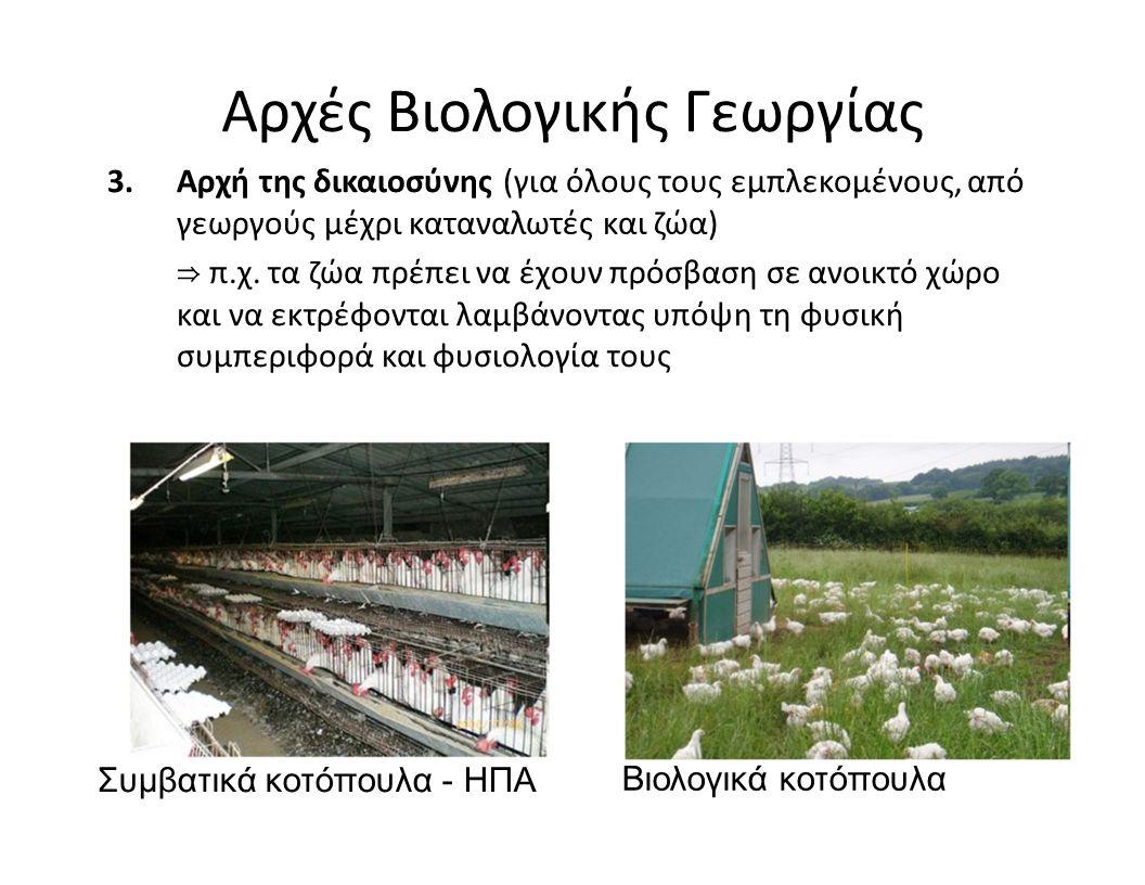 Αρχές Βιολογικής Γεωργίας 3.Αρχή της δικαιοσύνης (για όλους τους εμπλεκομένους, από γεωργούς μέχρι καταναλωτές και ζώα) ⇒ π.χ. τα ζώα πρέπει να έχουν
