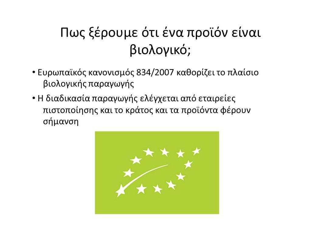Πως ξέρουμε ότι ένα προϊόν είναι βιολογικό; Ευρωπαϊκός κανονισμός 834/2007 καθορίζει το πλαίσιο βιολογικής παραγωγής Η διαδικασία παραγωγής ελέγχεται
