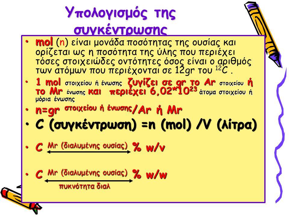 Υπολογισμός της συγκέντρωσης molmol (n) είναι μονάδα ποσότητας της ουσίας και ορίζεται ως η ποσότητα της ύλης που περιέχει τόσες στοιχειώδες οντότητες