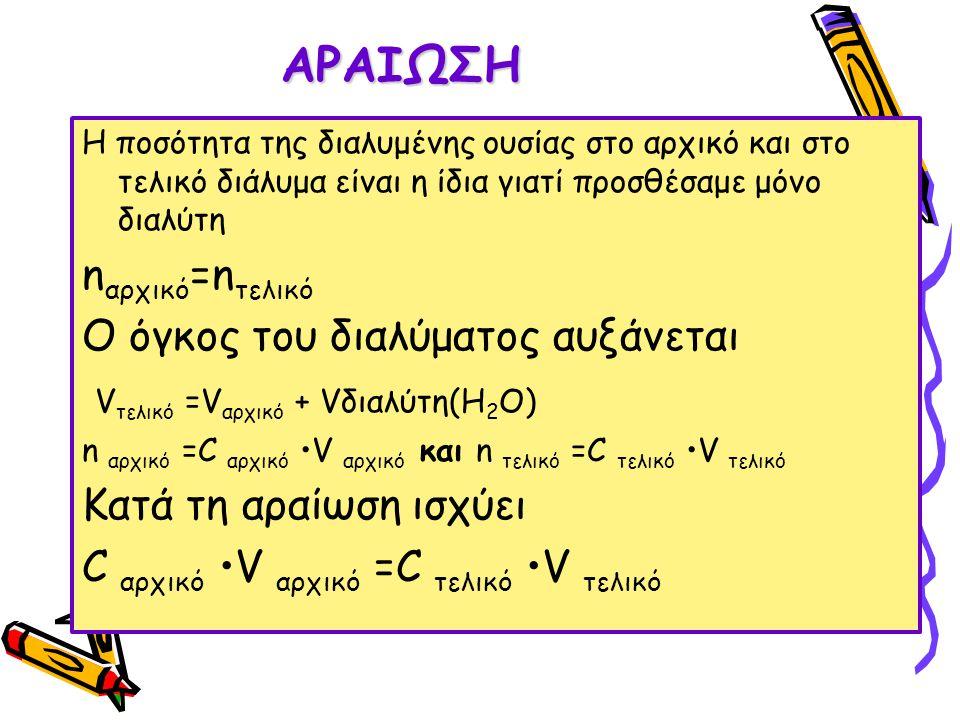 ΑΡΑΙΩΣΗ Η ποσότητα της διαλυμένης ουσίας στο αρχικό και στο τελικό διάλυμα είναι η ίδια γιατί προσθέσαμε μόνο διαλύτη n αρχικό =n τελικό Ο όγκος του δ