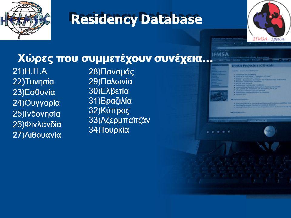 Χώρες που συμμετέχουν συνέχεια… 21)Η.Π.Α 22)Τυνησία 23)Εσθονία 24)Ουγγαρία 25)Ινδονησία 26)Φινλανδία 27)Λιθουανία Residency Database Χώρες που συμμετέχουν συνέχεια… Residency Database 28)Παναμάς 29)Πολωνία 30)Ελβετία 31)Βραζιλία 32)Κύπρος 33)Αζερμπαϊτζάν 34)Τουρκία