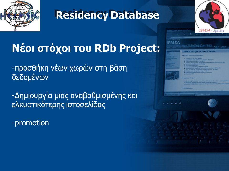 Residency Database Νέοι στόχοι του RDb Project: -προσθήκη νέων χωρών στη βάση δεδομένων -Δημιουργία μιας αναβαθμισμένης και ελκυστικότερης ιστοσελίδας -promotion