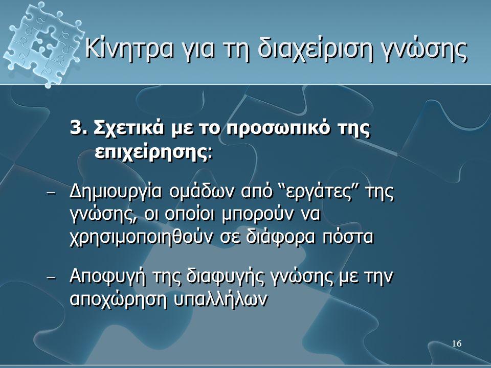 16 Κίνητρα για τη διαχείριση γνώσης 3.