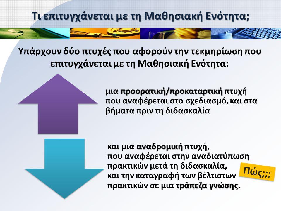 Τι επιτυγχάνεται με τη Μαθησιακή Ενότητα; Υπάρχουν δύο πτυχές που αφορούν την τεκμηρίωση που επιτυγχάνεται με τη Μαθησιακή Ενότητα: Πώς;;; προορατική/προκαταρτική μια προορατική/προκαταρτική πτυχή που αναφέρεται στο σχεδιασμό, και στα βήματα πριν τη διδασκαλία αναδρομική τράπεζα γνώσης και μια αναδρομική πτυχή, που αναφέρεται στην αναδιατύπωση πρακτικών μετά τη διδασκαλία, και την καταγραφή των βέλτιστων πρακτικών σε μια τράπεζα γνώσης.