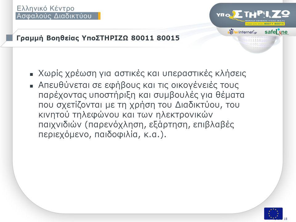 Σελ. 2 από 50 Σεμινάριο «Οι εκπαιδευτικοί συζητούν για την ασφάλεια των μαθητών τους στο Διαδίκτυο», Πάτρα, 9/11/2009 Γραμμή Βοηθείας ΥποΣΤΗΡΙΖΩ 80011