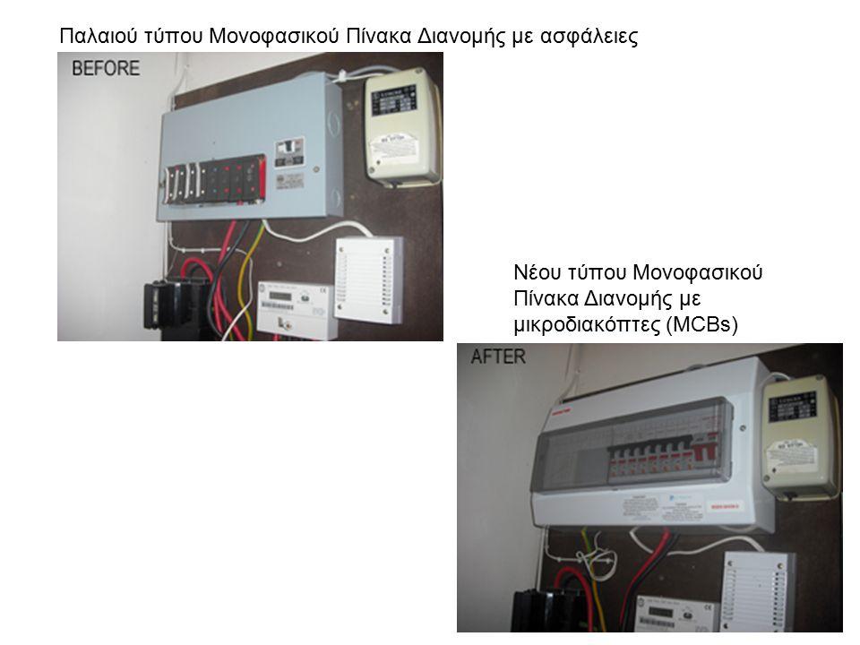 Παλαιού τύπου Μονοφασικού Πίνακα Διανομής με ασφάλειες Νέου τύπου Μονοφασικού Πίνακα Διανομής με μικροδιακόπτες (MCBs)