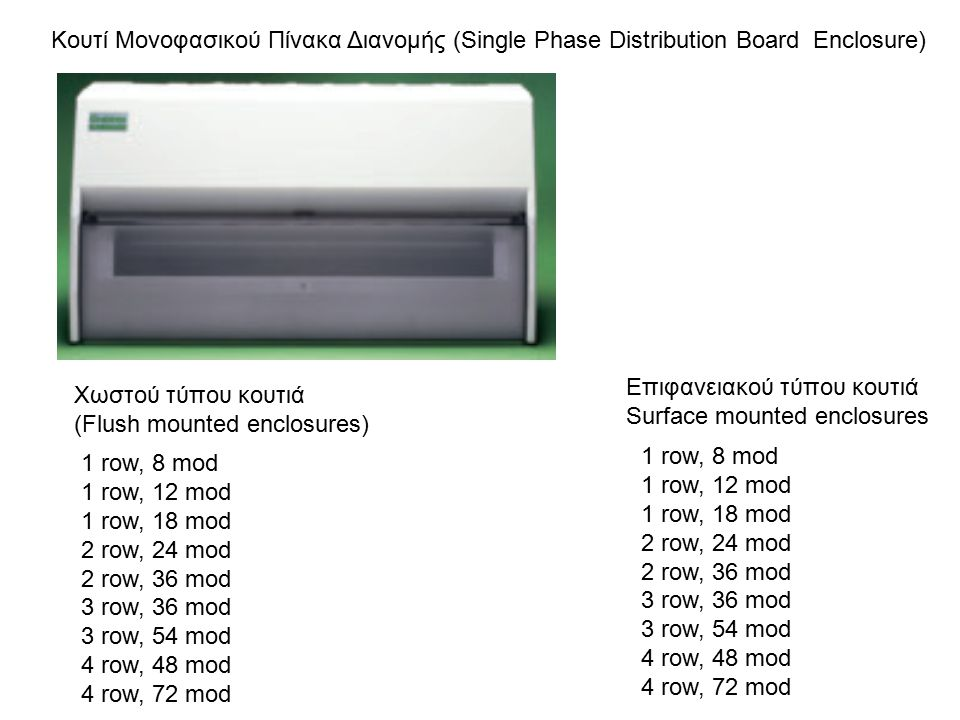 Μονοφασικός Πίνακας Διανομής μίας σειράς με Γενικό Διακόπτη Ο τύπος αυτός του Μονοφασικού Πίνακα Διανομής επιτρέπει τη χρήση των MCBs και των RCBOs για προστασία των κυκλωμάτων.