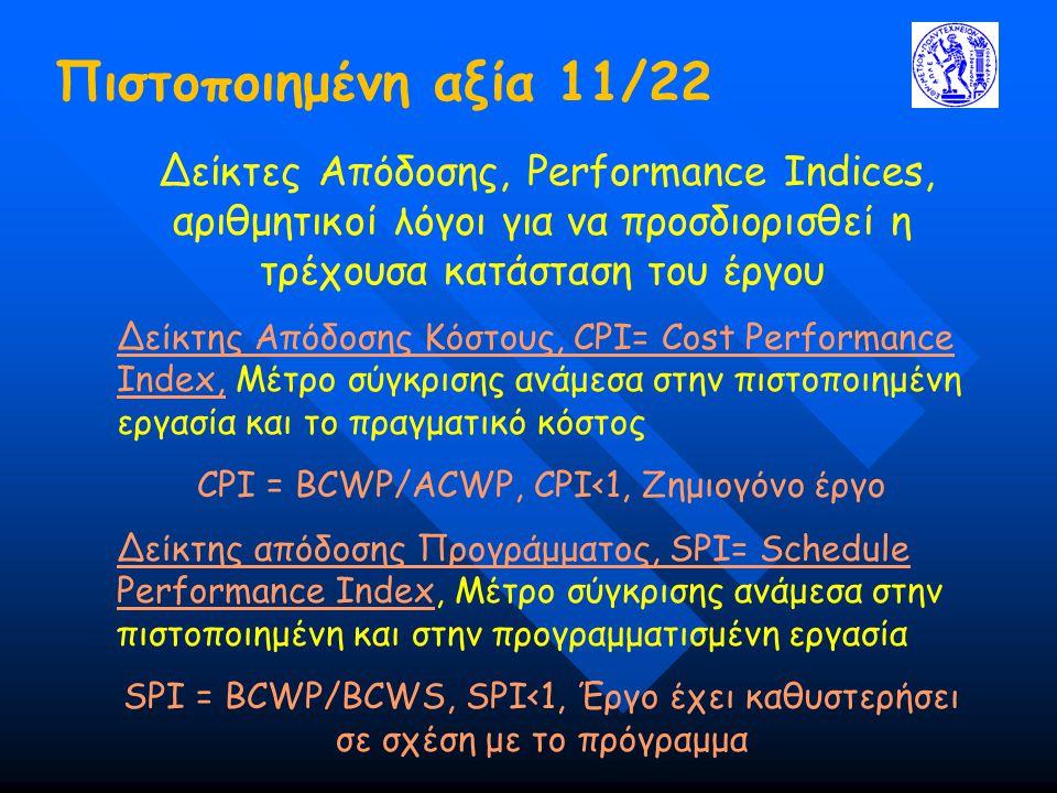 Πιστοποιημένη αξία 11/22 Δείκτες Απόδοσης, Performance Indices, αριθμητικοί λόγοι για να προσδιορισθεί η τρέχουσα κατάσταση του έργου Δείκτης Απόδοσης