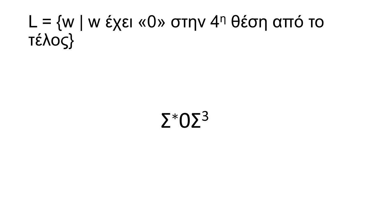 L = {w | w έχει «0» στην 4 η θέση από το τέλος} Σ ∗ 0Σ 3