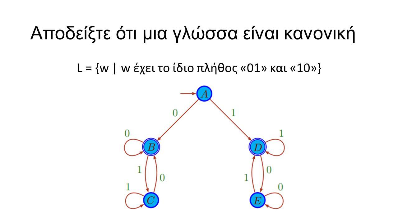 Αποδείξτε ότι μια γλώσσα είναι κανονική L = {w | w έχει το ίδιο πλήθος «01» και «10»}