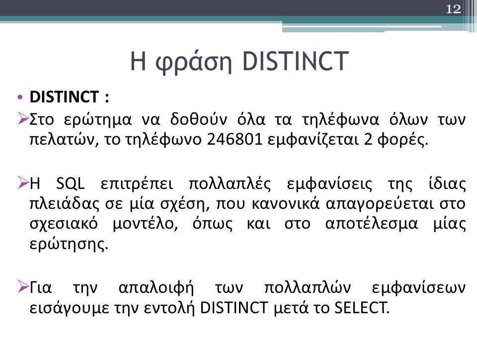 Η φράση DISTINCT DISTINCT :  Στο ερώτημα να δοθούν όλα τα τηλέφωνα όλων των πελατών, το τηλέφωνο 246801 εμφανίζεται 2 φορές.