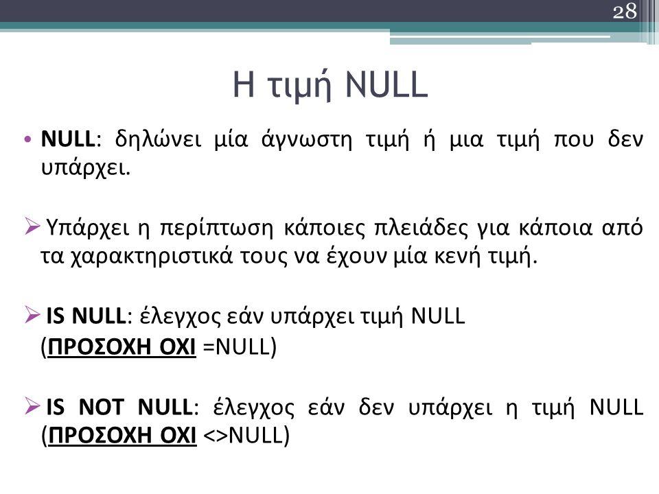 Η τιμή NULL NULL: δηλώνει μία άγνωστη τιμή ή μια τιμή που δεν υπάρχει.