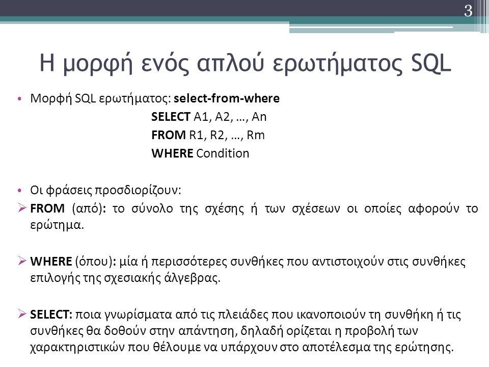 Ερώτημα με DISTINCT στον SQL Server 2012 (2/2) Να δοθούν τα μοναδικά επίθετα και τηλέφωνα (με την έννοια των μοναδικών συνδυασμών τους) από όλους τους πελάτες: SELECT DISTINCT Επίθετο, Τηλέφωνο FROM ΠΕΛΑΤΗΣ 14