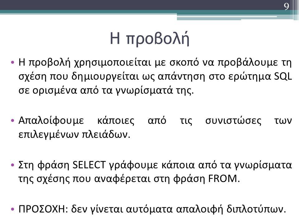 Ερώτημα με προβολή στον SQL Server 2012 Να δοθούν το επίθετα, η οδός και ο αριθμός όλων των πελατών: SELECT Επίθετο, Οδός, Αριθμός FROM ΠΕΛΑΤΗΣ 10