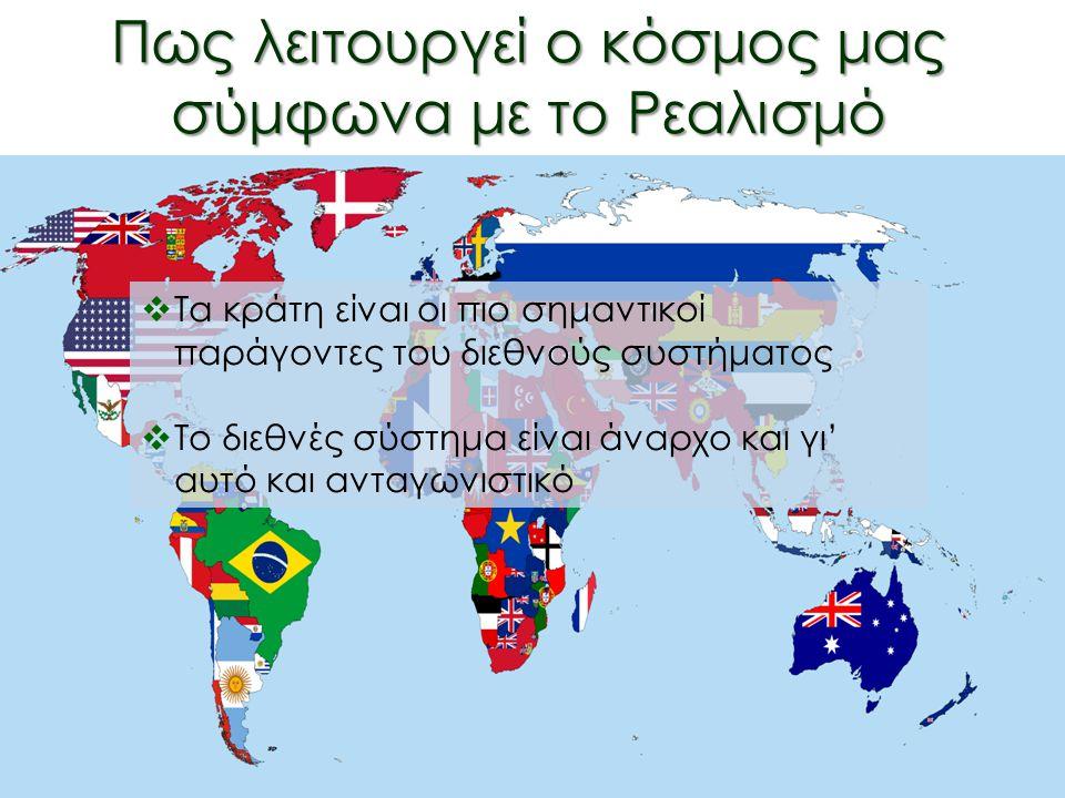 Πως λειτουργεί ο κόσμος μας σύμφωνα με το Ρεαλισμό Ο Κλασικός Ρεαλισμός συντίθεται από τα παρακάτω αξιώματα:  Τα κράτη είναι οι πιο σημαντικοί παράγοντες του διεθνούς συστήματος  Το διεθνές σύστημα είναι άναρχο και γι' αυτό είναι και ανταγωνιστικό  Τα κράτη είναι οι πιο σημαντικοί παράγοντες του διεθνούς συστήματος  Το διεθνές σύστημα είναι άναρχο και γι' αυτό και ανταγωνιστικό