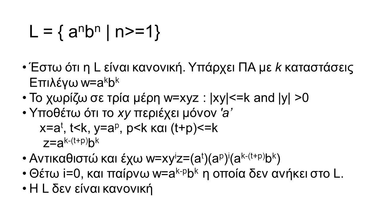 L = { a n b n | n>=1} Έστω ότι η L είναι κανονική. Υπάρχει ΠΑ με k καταστάσεις Επιλέγω w=a k b k Το χωρίζω σε τρία μέρη w=xyz : |xy| 0 Υποθέτω ότι το
