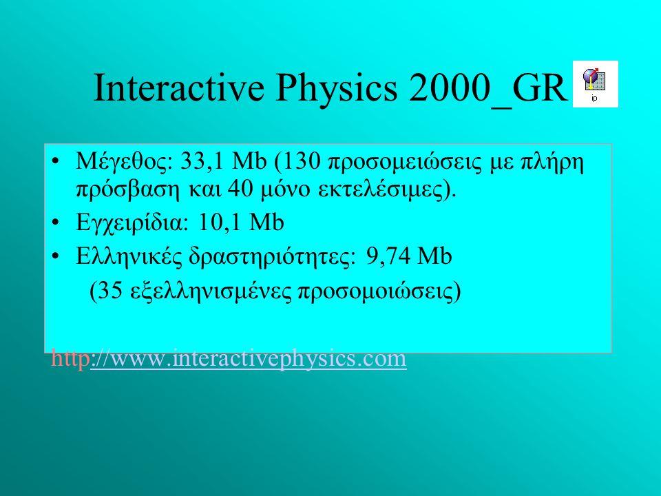 Ιnteractive Physics 2000_GR Μέγεθος: 33,1 Mb (130 προσομειώσεις με πλήρη πρόσβαση και 40 μόνο εκτελέσιμες). Εγχειρίδια: 10,1 Μb Eλληνικές δραστηριότητ