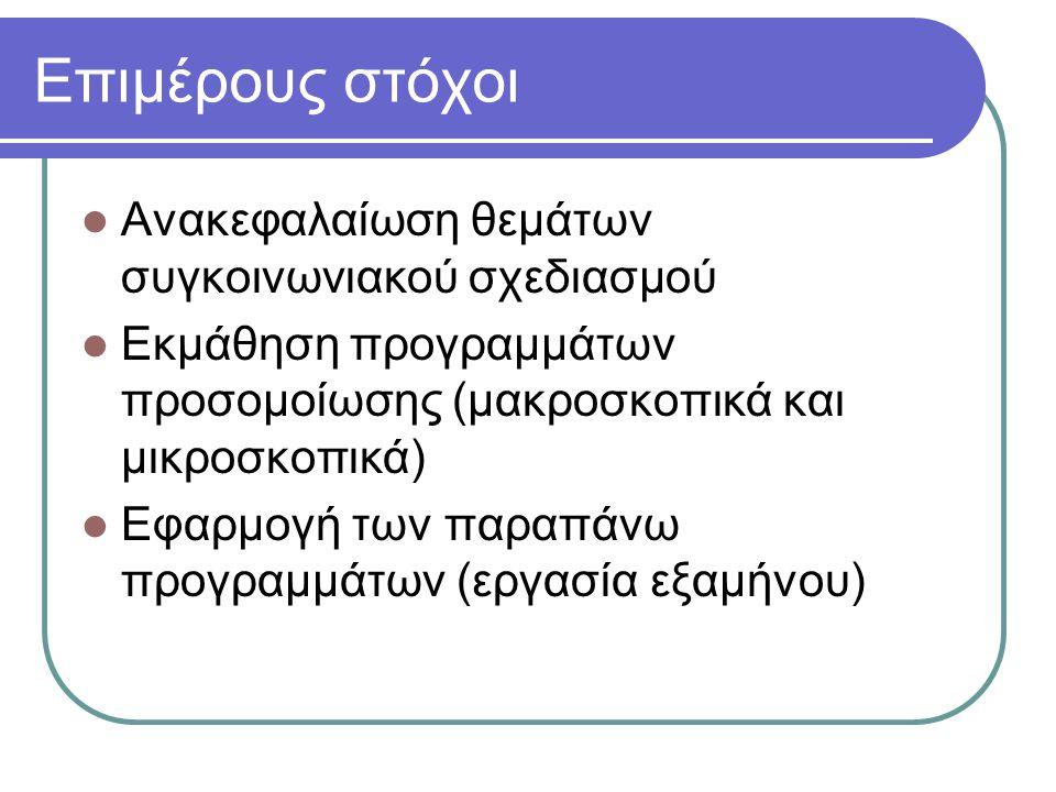 Επιμέρους στόχοι Ανακεφαλαίωση θεμάτων συγκοινωνιακού σχεδιασμού Εκμάθηση προγραμμάτων προσομοίωσης (μακροσκοπικά και μικροσκοπικά) Εφαρμογή των παραπ